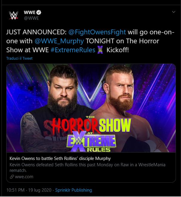 Annunciato match per Extreme Rules