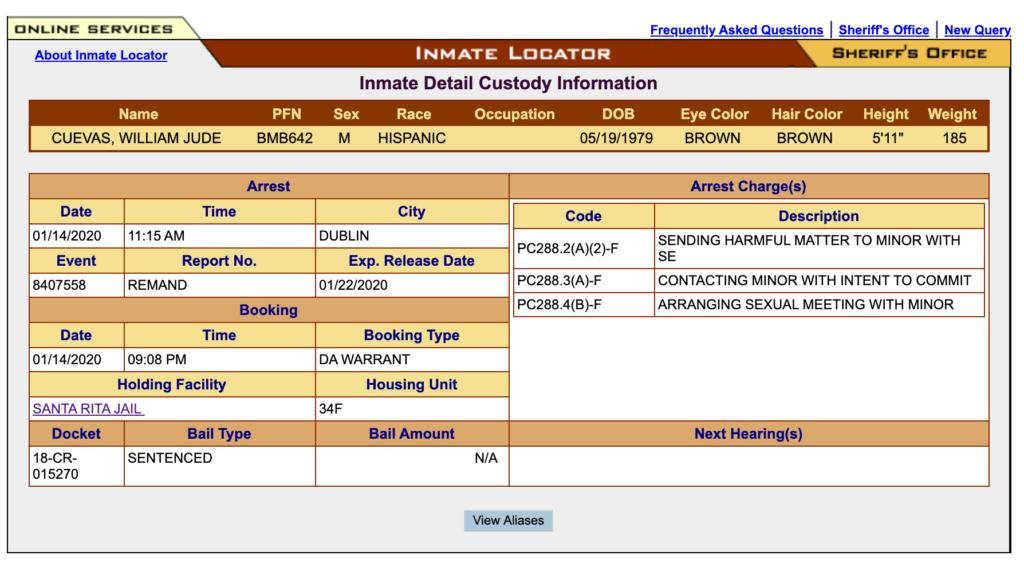 Will Cuevas Arrest Record