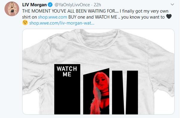 Liv Morgan: messa in vendita la sua prima maglietta da parte della WWE
