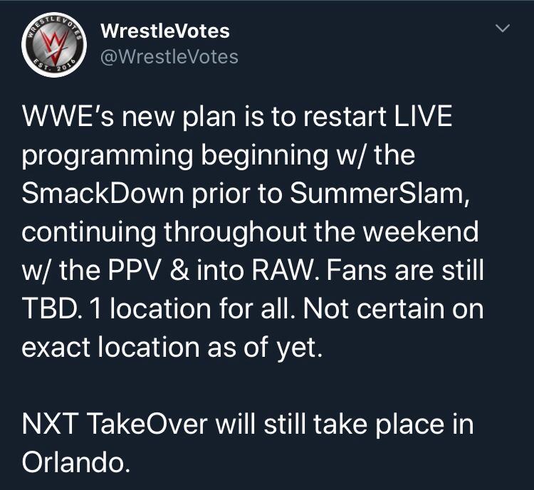 WWE: torna la programmazione live già prima di SummerSlam?