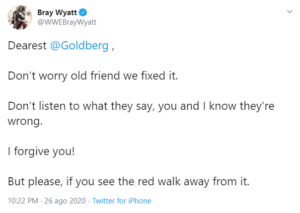 Bray Wyatt perdona Goldberg con un messaggio su Twitter