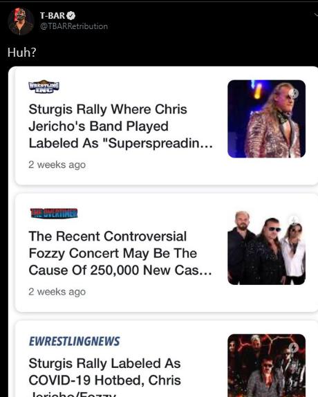 Chris Jericho: divertente scambio social con T-BAR della RETRIBUTION