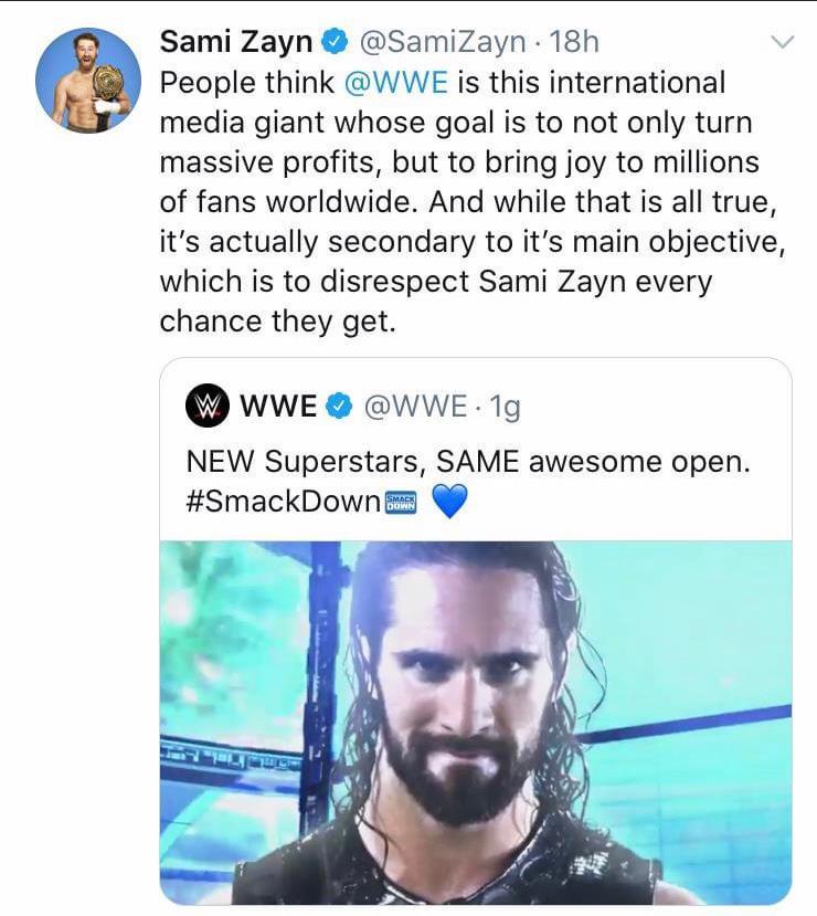 Sami Zayn: secondo lui la WWE gli manca di rispetto
