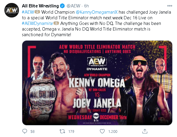 Kenny Omega lotterà in un No DQ Match a AEW Dynamite