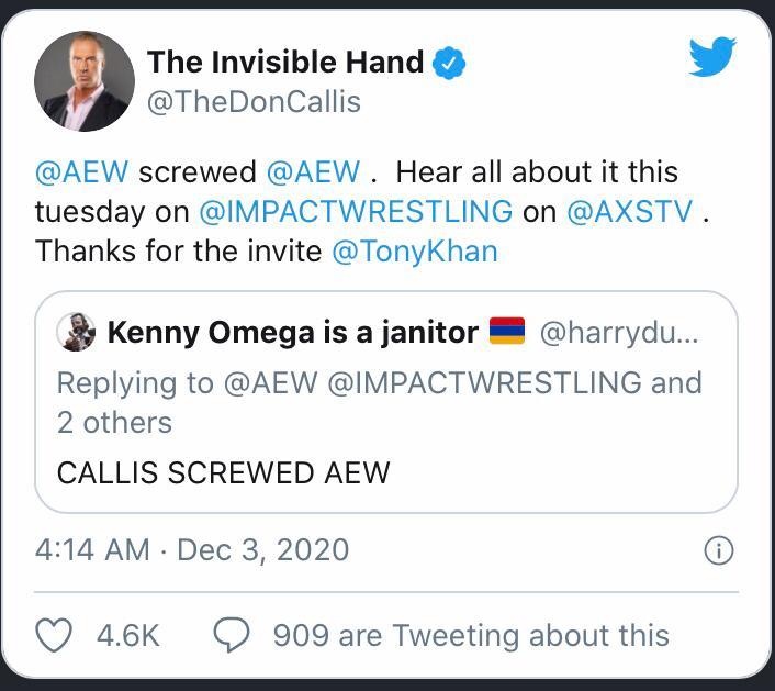 Don Callis cita Vince McMahon e provoca la AEW