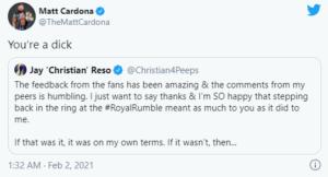 Matt Cardona critica Christian per il ritorno in WWE