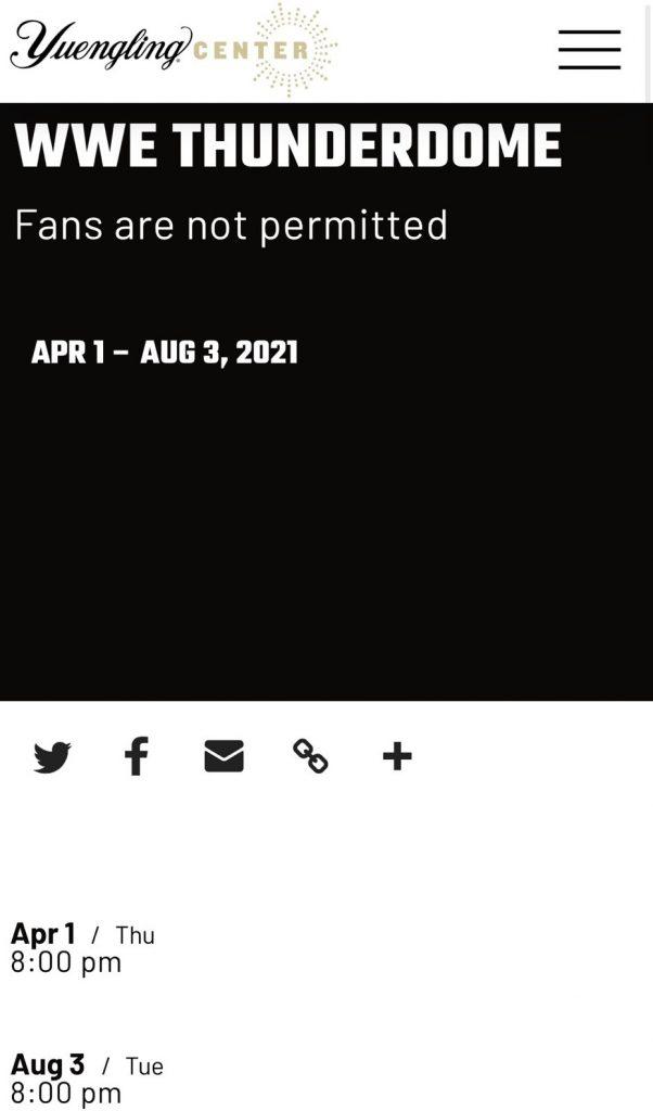 WWE ThunderDome: niente pubblico fino ad agosto