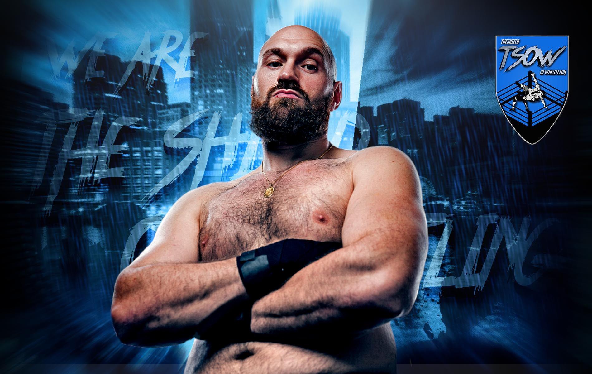 Tyson Fury era nel backstage di WrestleMania Backlash